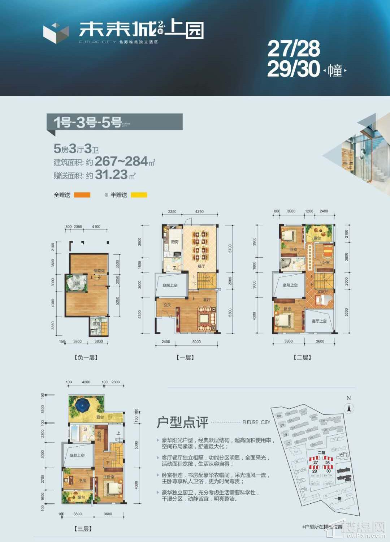 (别墅)27-28-29-30栋 1号3号5号 5房3厅3卫 267-284㎡ 赠送31.23㎡