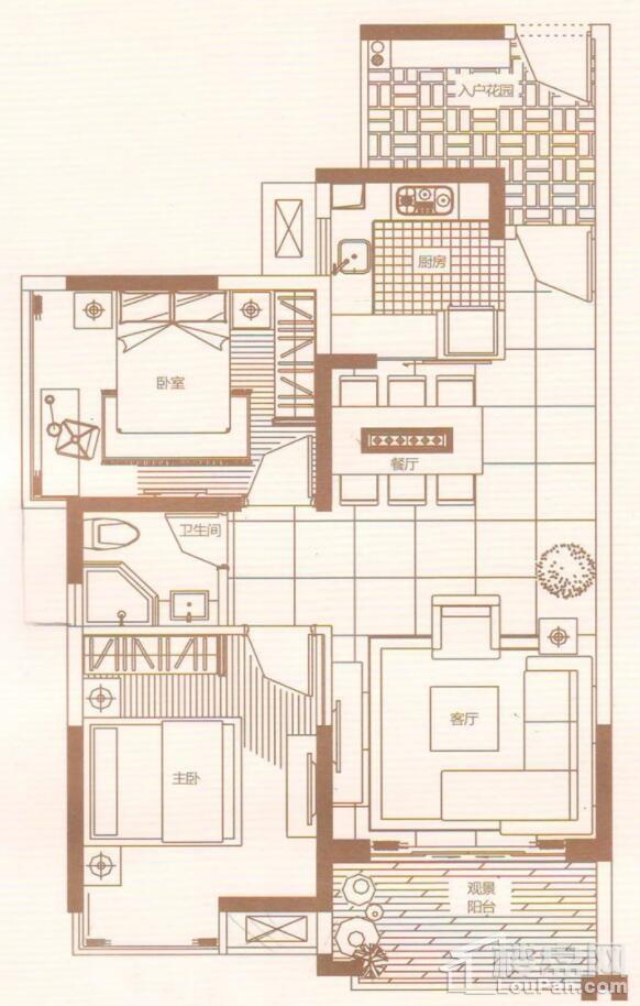 2室2厅1卫1阳台 88㎡