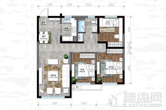 保利茉莉公馆户型G2 3室2厅1卫1厨