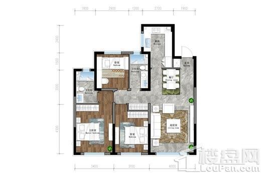 保利茉莉公馆三期悦和平高层G2户型 3室2厅2卫1厨