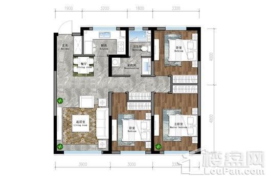 保利茉莉公馆三期悦和平高层G1户型 3室2厅1卫1厨