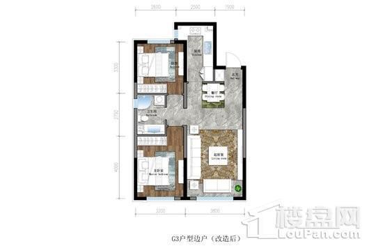 保利茉莉公馆三期悦和平高层G3户型 2室2厅1卫