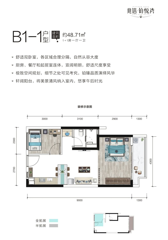 B1-1户型 1+1房一厅一卫 48.71㎡ 赠送11㎡