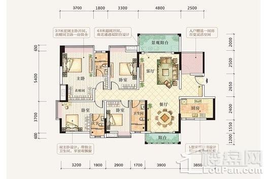 御景公园里4栋01单元 4室2厅3卫1厨