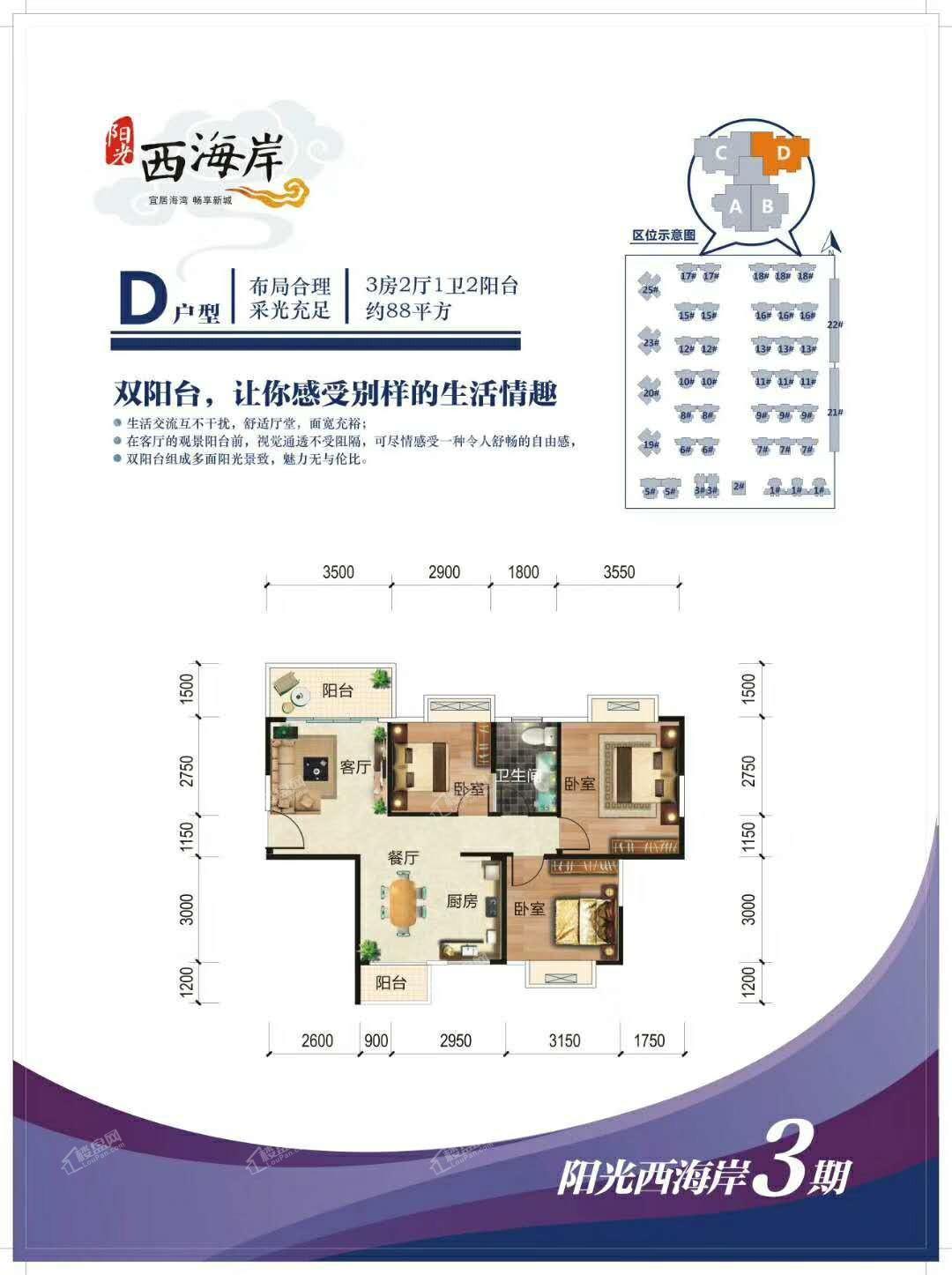 三期D户型 三房两厅一卫两阳台 88㎡