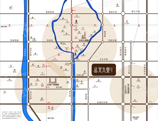 公元九里交通图