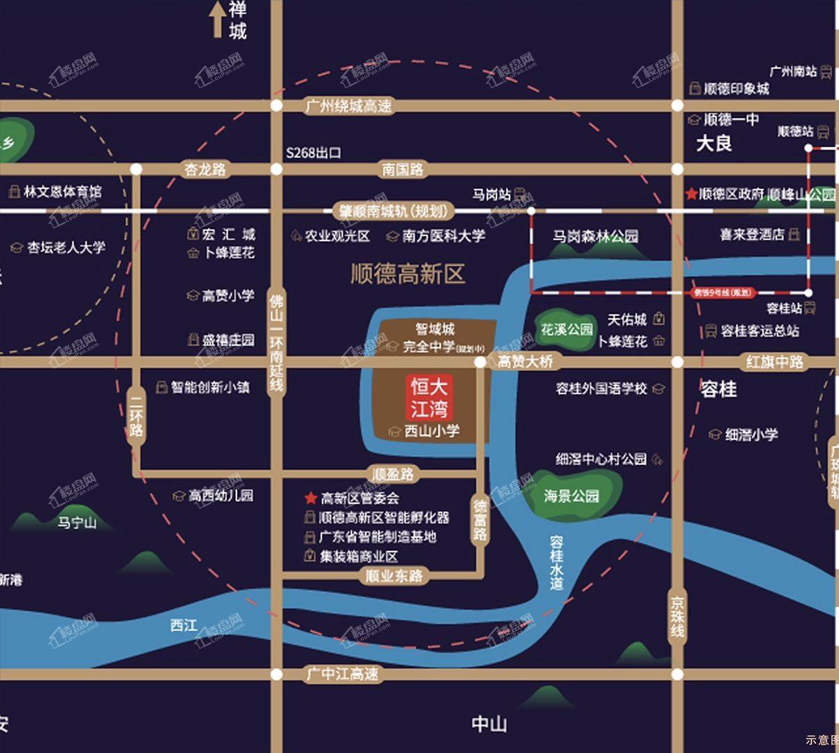 顺德恒大江湾位置图