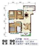 3#7# C户型 三房两厅一厨两卫两阳台  121.88㎡