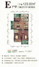 E户型 三房两厅两卫一厨三阳台 123.92㎡