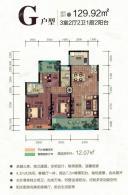 G户型 三房两厅两卫一厨两阳台 129.92㎡