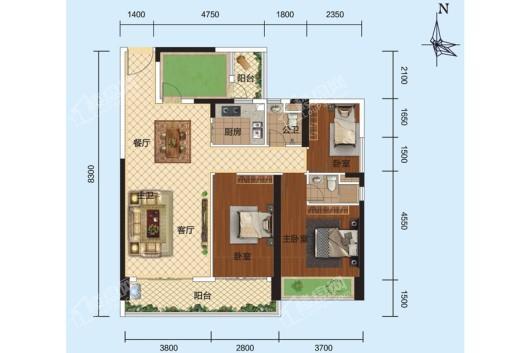 安铺凯旋华府1栋、2栋02户型 3室2厅2卫1厨