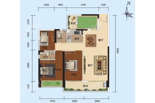 安铺凯旋华府1栋、2栋03户型 3室2厅2卫1厨
