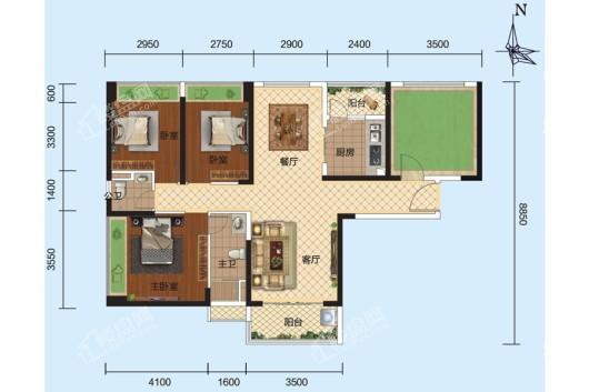 安铺凯旋华府1栋、2栋05户型 3室2厅2卫1厨