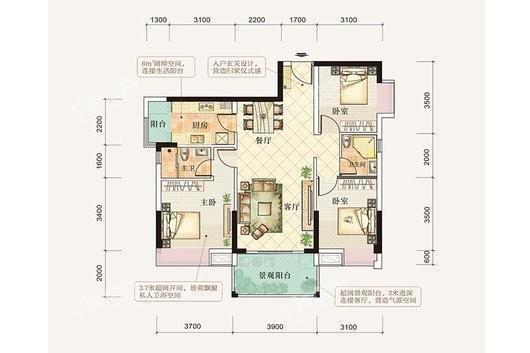 御景公园里4栋04单元 3室2厅2卫1厨