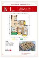 616幢K-1户型-三房两厅一厨两卫一阳台-122.70-123.05㎡