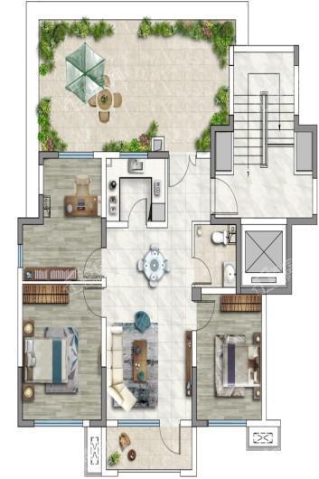 观承望溪90平米户型 3室2厅1卫1厨