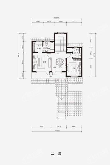 融创·阿朵小镇E-N户型二层 4室3厅4卫1厨