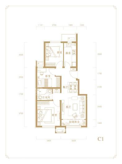中海首钢·金裕雅苑C1户型 3室2厅1卫1厨