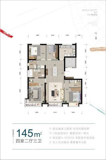 城市之光·东望145平米户型图 4室2厅3卫1厨