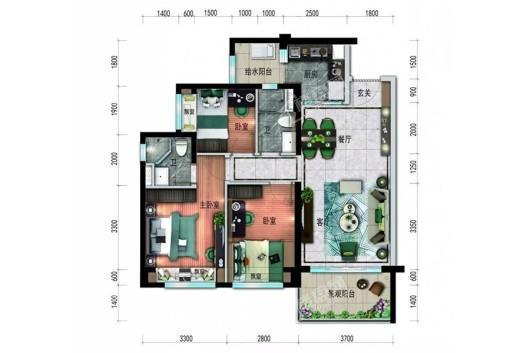 廉江碧桂园君悦华庭YJ140&95-B户型 3室2厅2卫1厨