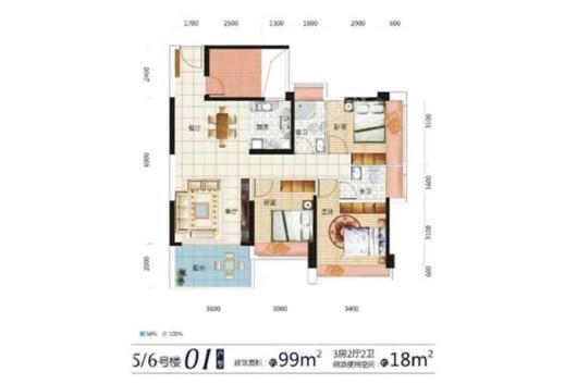 东达·海角8号5、6号楼01户型 3室2厅2卫1厨