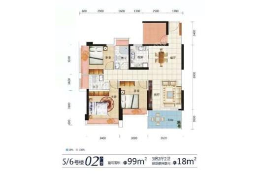 东达·海角8号5、6号楼02户型 3室2厅2卫1厨