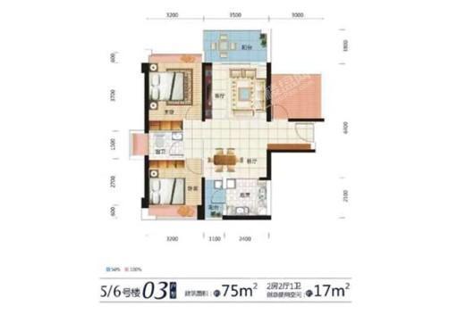 东达·海角8号5、6号楼03户型 2室2厅1卫1厨