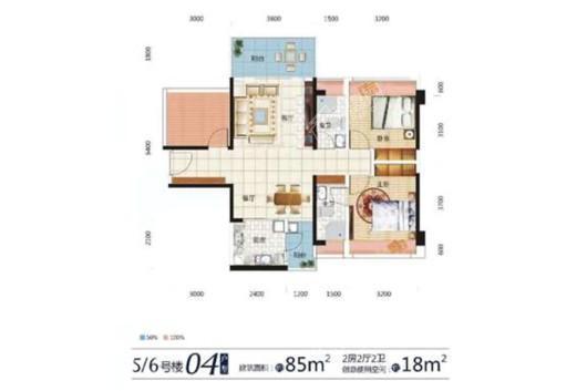 东达·海角8号5、6号楼04户型 2室2厅2卫1厨