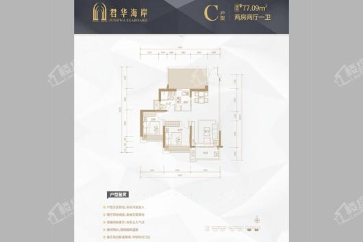 广粤锦泰·君华海岸C户型 2室2厅1卫1厨