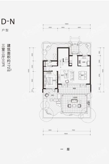 融创·阿朵小镇D-N户型一层 3室3厅3卫1厨