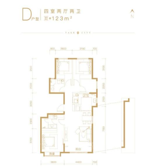 北京橡树珑湾D户型4室2厅2卫