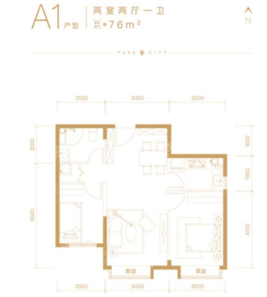 北京橡树珑湾A1户型约76平米2室2厅1卫