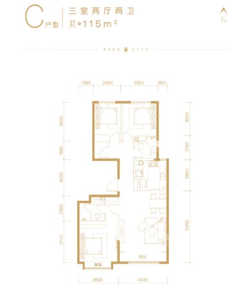 北京橡树珑湾C户型3室2厅2卫约115平米