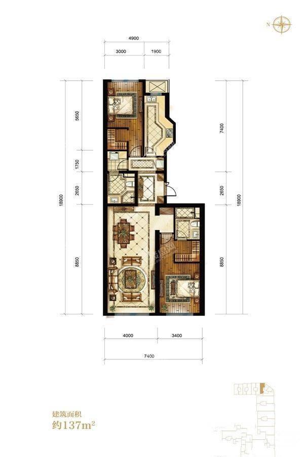 2室2厅2卫137平