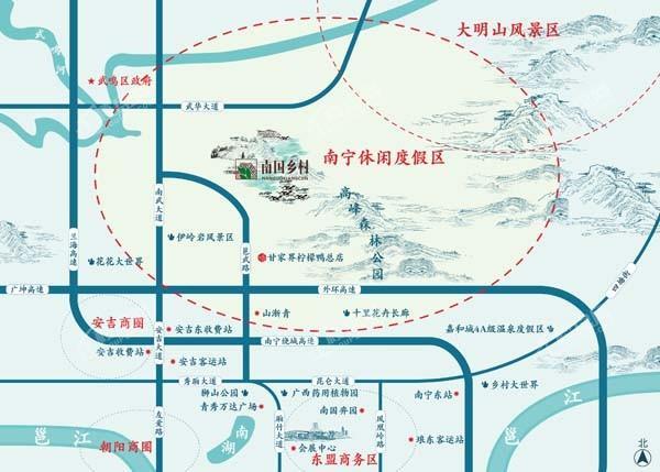 南国乡村·农村综合旅游景区位置图