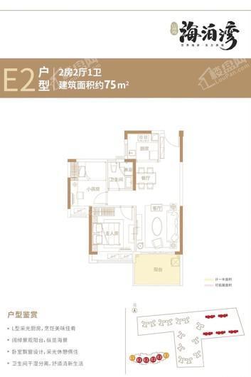 徐闻山湖海·海泊湾E2户型 2室2厅1卫1厨