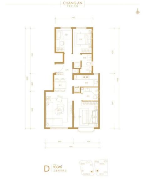 103平三室两厅两卫