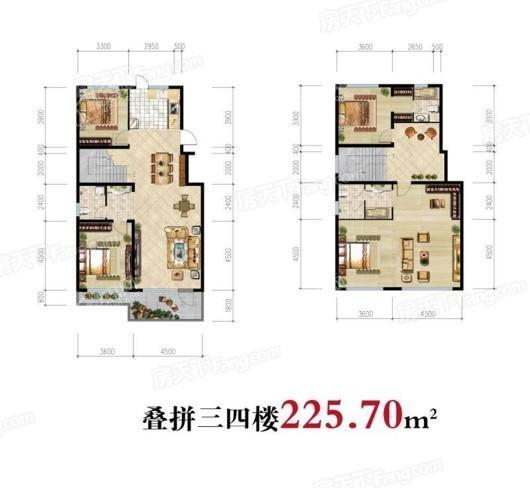 雁山·观云小镇叠拼3-4楼225.7㎡ 4室2厅3卫1厨