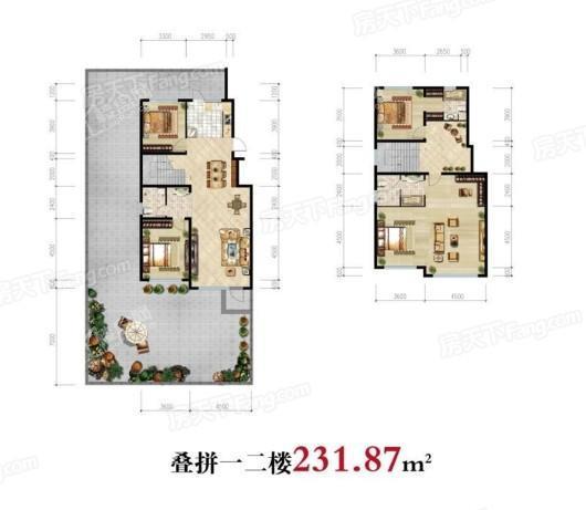 雁山·观云小镇叠拼1-2楼231.87㎡ 4室4厅3卫1厨