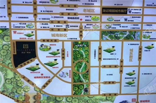 蒲城龙记观园交通图