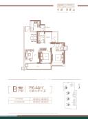 卓越·海畔山4栋B户型2房2厅2卫96.44㎡