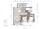 龙湖嘉天下揽城阔景高层C户型 3室2厅1卫 建面约81平米