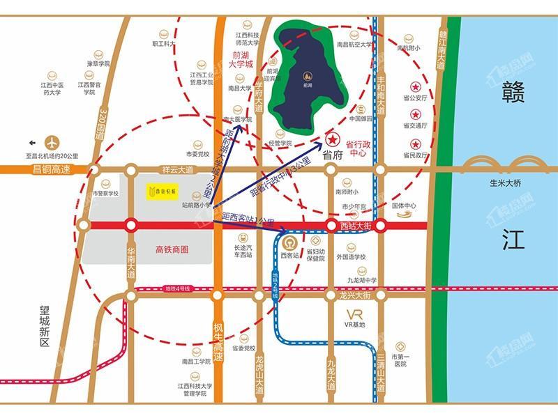 南昌华南城西站悦城位置图