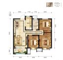B户型3室2厅1卫105平米