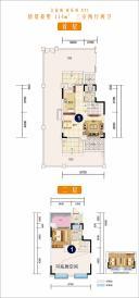 文旅城 童乐府 XT1  首层   二层(花园洋房 114㎡ 三室两厅两卫)