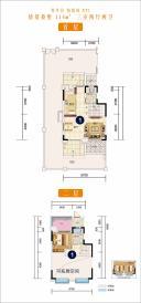 养生谷 铂悦府 XT1  首层   二层(花园洋房 114㎡ 三室两厅两卫)