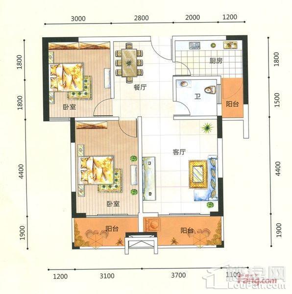 两房两厅一卫 81.41㎡