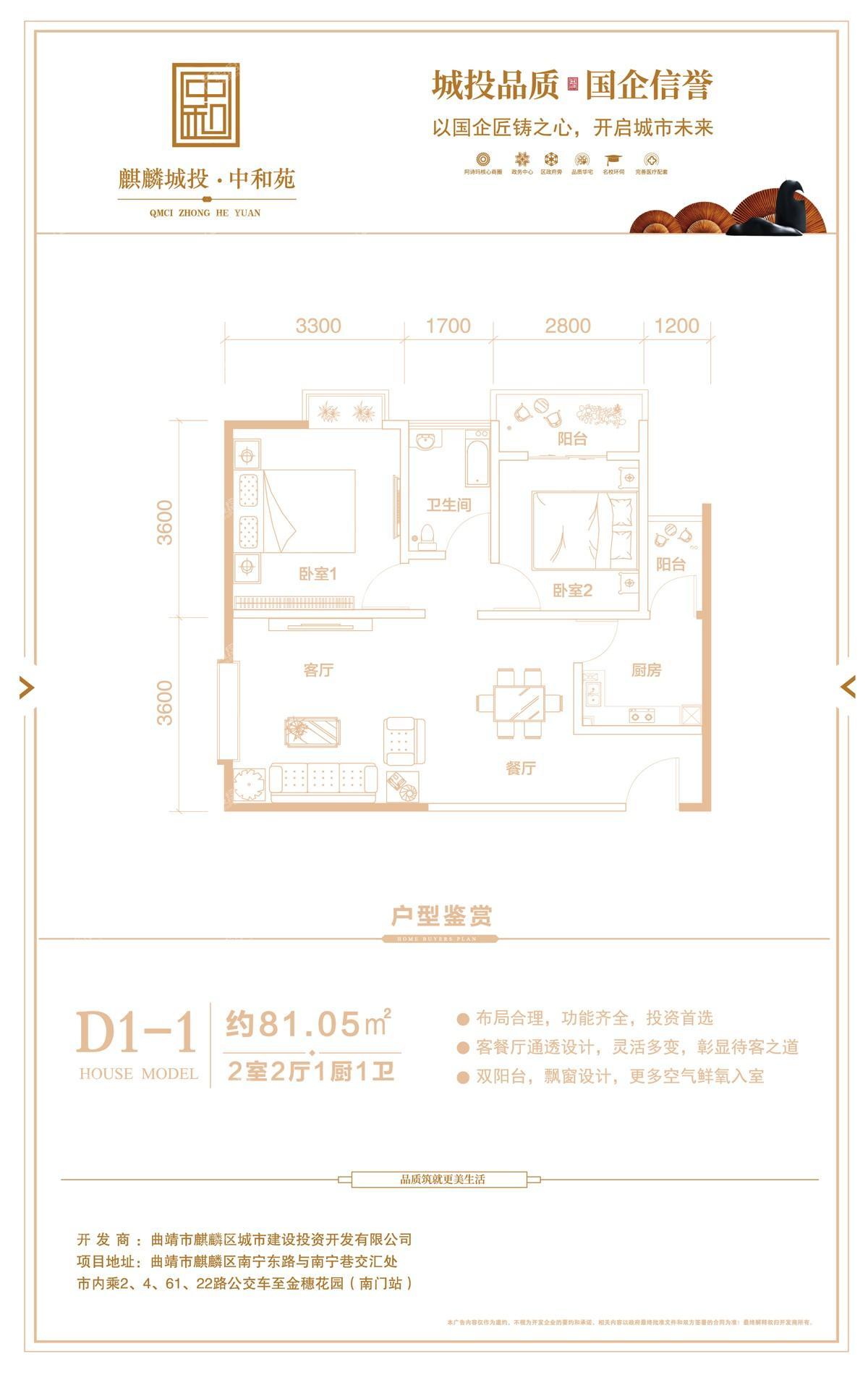 麒麟城投·中和苑户型图1