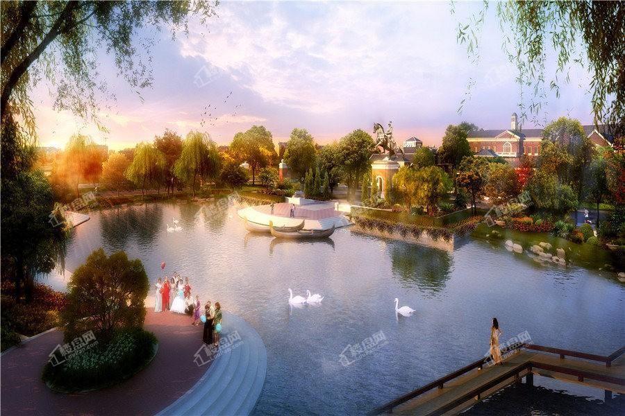 孔雀城·新京学府园区天鹅湖景观效果图