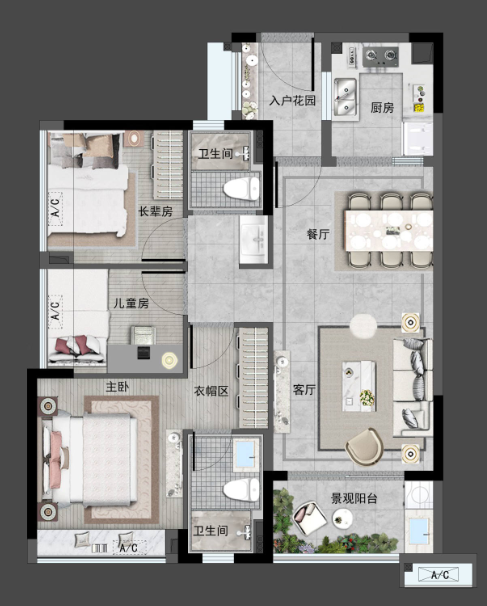 A户型89㎡舒适3房